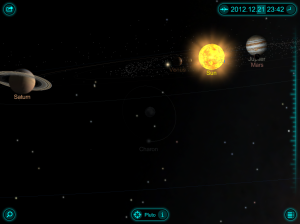 Here's a nice view of the solar system as it should look on Dec. 21, 2012. View from Pluto [Screen Shot: Solar Walk 3D for iPad App in Orrery Mode] Click to Upscaleify