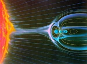 llustration of solar wind impact on Earth's magnetosphere Copyright: NASA
